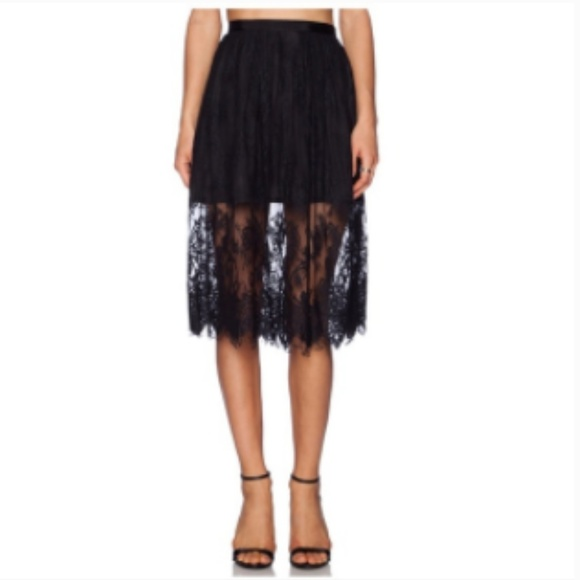 Lovers + Friends Dresses & Skirts - LOVERS + FRIENDS Black Lace Midi Skirt Small